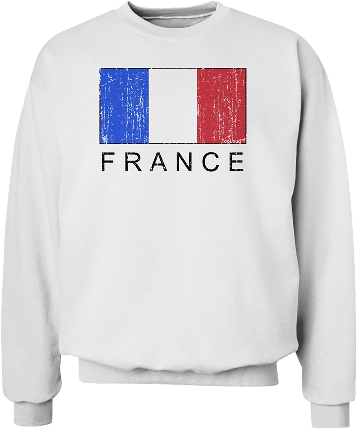 TooLoud French Flag France Text Distressed Sweatshirt