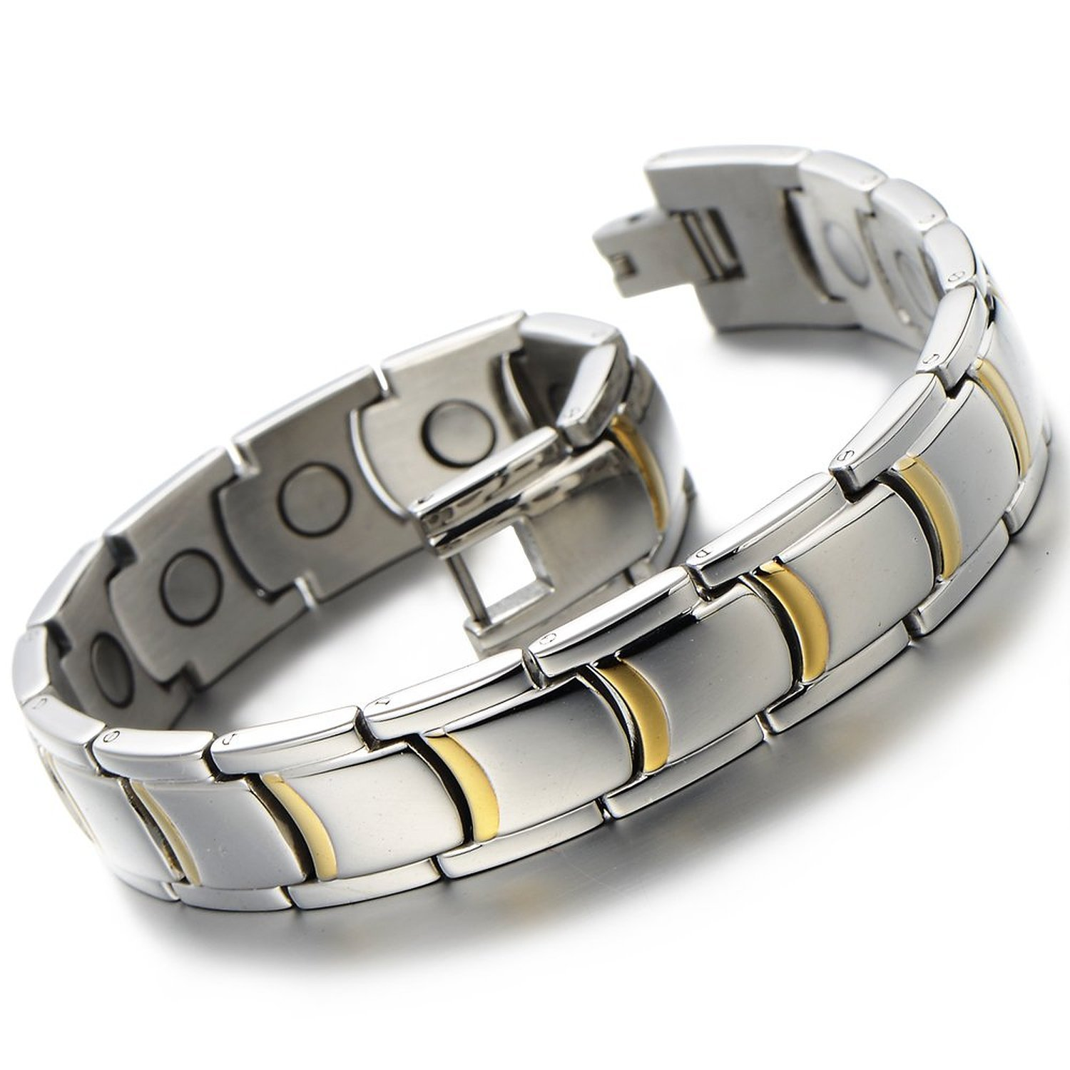 Stylish Mens Magnetic Link Bracelet Stainless Steel with Magnets Silver Gold Two-tone COOLSTEELANDBEYOND MB-153-CA