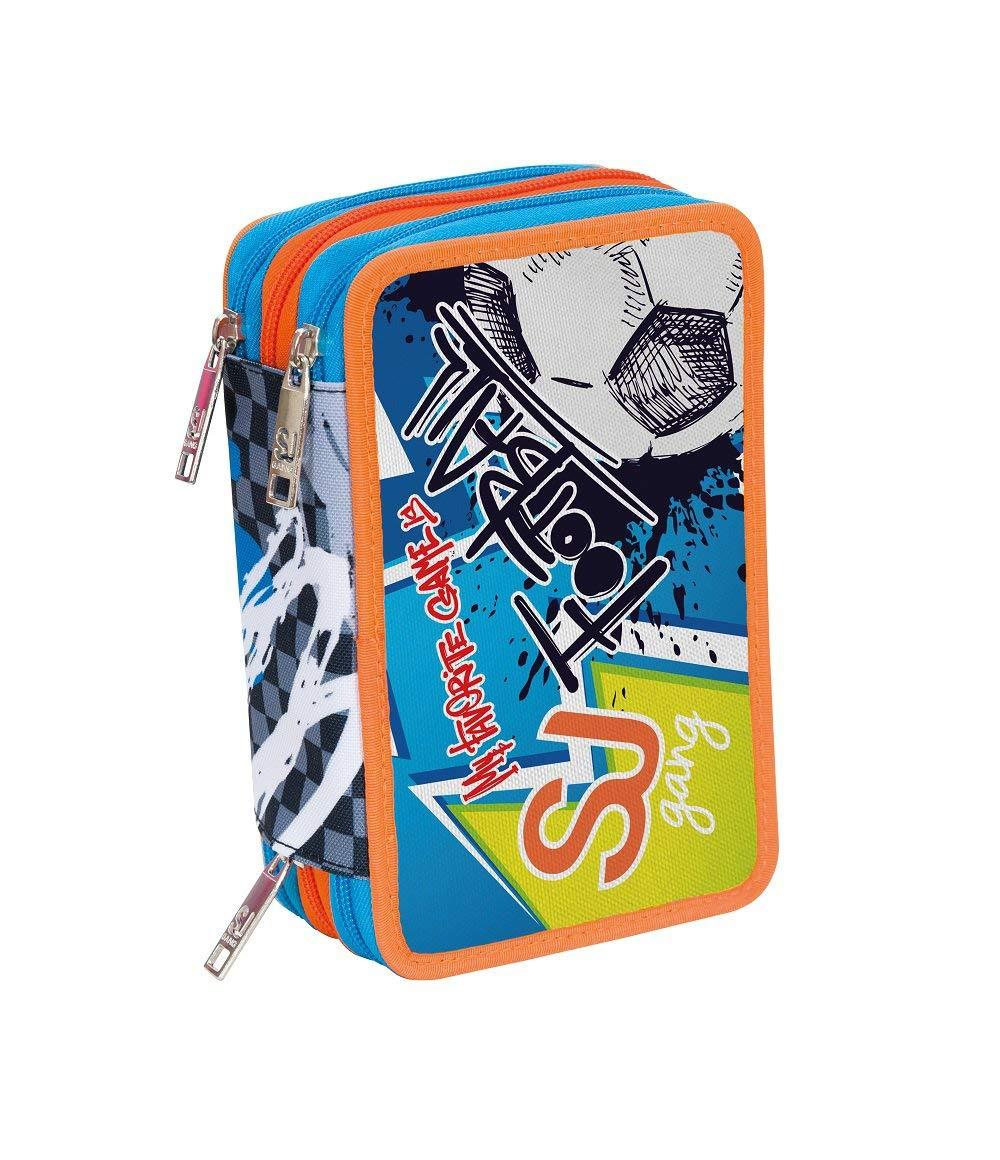0186695462 ASTUCCIO scuola SJ BOY - Bambino - - - 3 scomparti - Azzurro Arancio - pennarelli  matite gomma ecc. df6b80