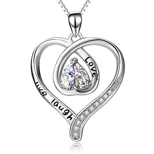 33c59061526 Beydodo Heart Necklaces Women Crystal Necklace 925 Double Heart Love Live  Laugh Heart Cubic Zirconia  Beydodo  Amazon.ca  Jewelry