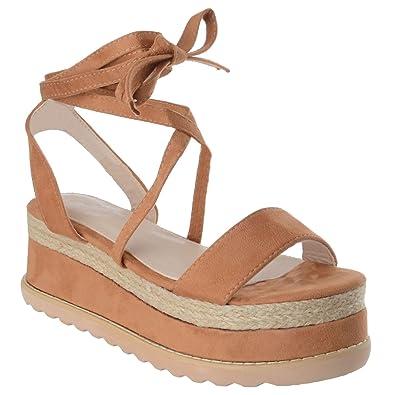 Women/'s Ladies Platform Boots Flatform Cork Wedge Heel Ankle Lace Up Boots Shoes