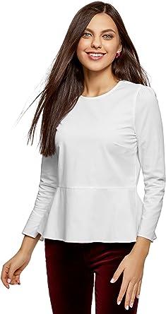 oodji Ultra Mujer Blusa de Algodón con Volantes, Blanco, ES 44 / XL: Amazon.es: Ropa y accesorios