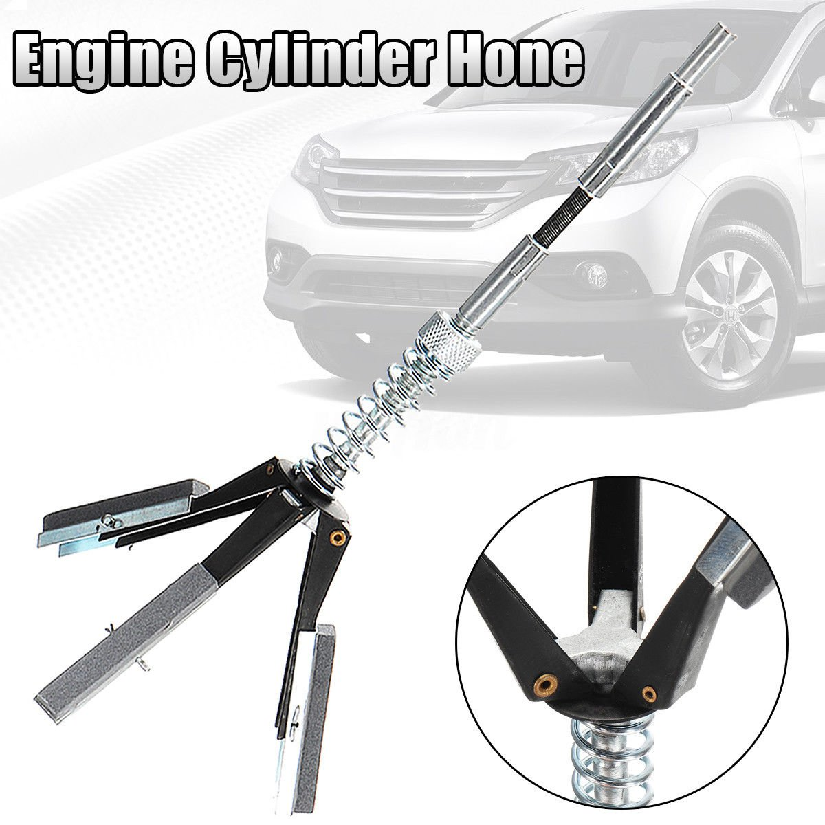 """Dracarys 2 Engine Cylinder Hone Adjustable Honing Tension Fits 1 1//4 to 3 1//2 Diameter Range Flexible Shaft with 3-220 Grit 2/"""" Stones"""