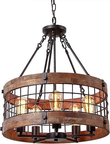 Anmytek Round Wooden Chandelier Metal Pendant Five Lights Decorative Lighting Fixture Antique Ceiling Lamp Five Lights