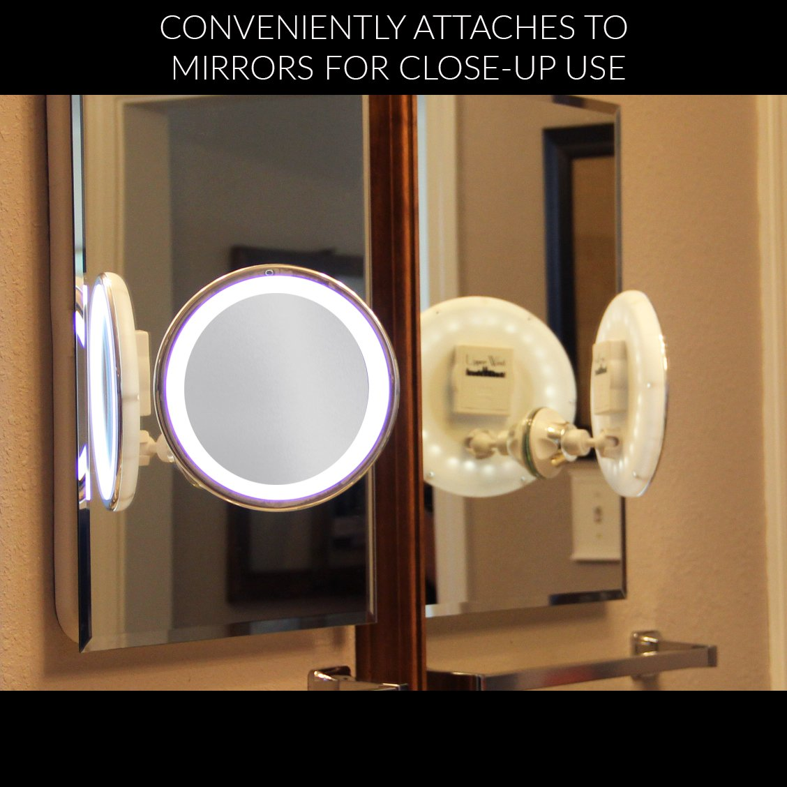 LED Makeup Mirror   Adjustable 5x Magnification Lighted Makeup Mirror Vanity.  Warm LED Tap Light Bathroom Mirror With Powerful Rotating, Locking Suction.