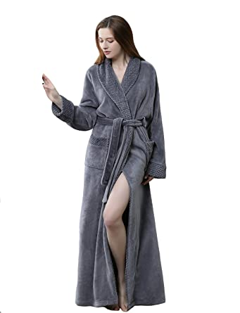 BELLOO Ladies Winter Coral Fleece Dressing Gown Long Style 4e5114ce1