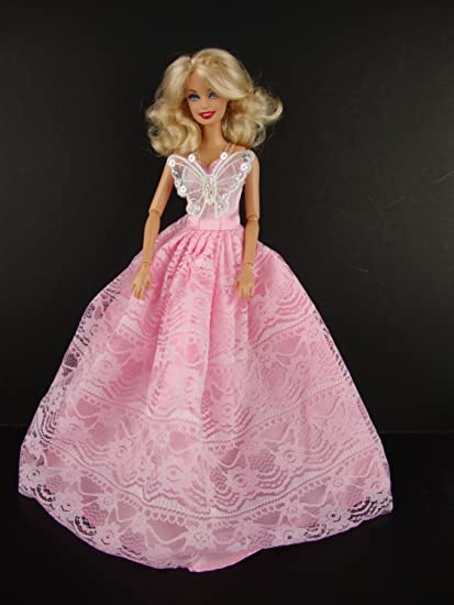 Bright Red Ball Gown Flower on the Bodice Made to Fit Barbie Doll