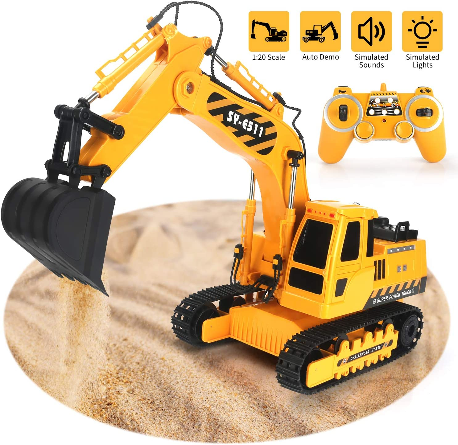 Tuptoel Excavator Toy 2.4GHz Remote Control Excavator, 11 Channel Fully Functional 1/20 Construction Vehicles Trucks with Rechargeable Battery Simulated Lights Sounds, Birthday for Kids