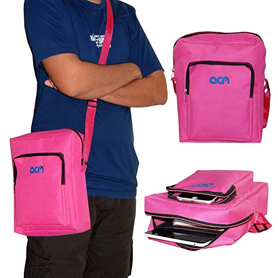 Acm Classic Soft Padded Shoulder Sling Bag Compatible with Samsung Google Nexus 10 Carrying Case Dark Pink Tablet Accessories