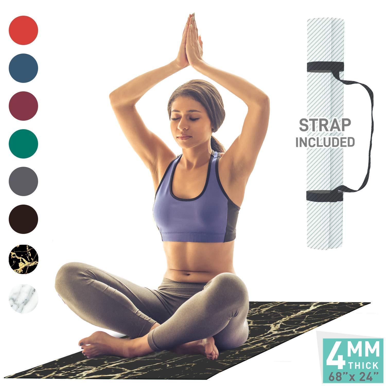 Amazon.com : Aduro Sport Yoga Workout Mat, 4MM Thick Yoga ...