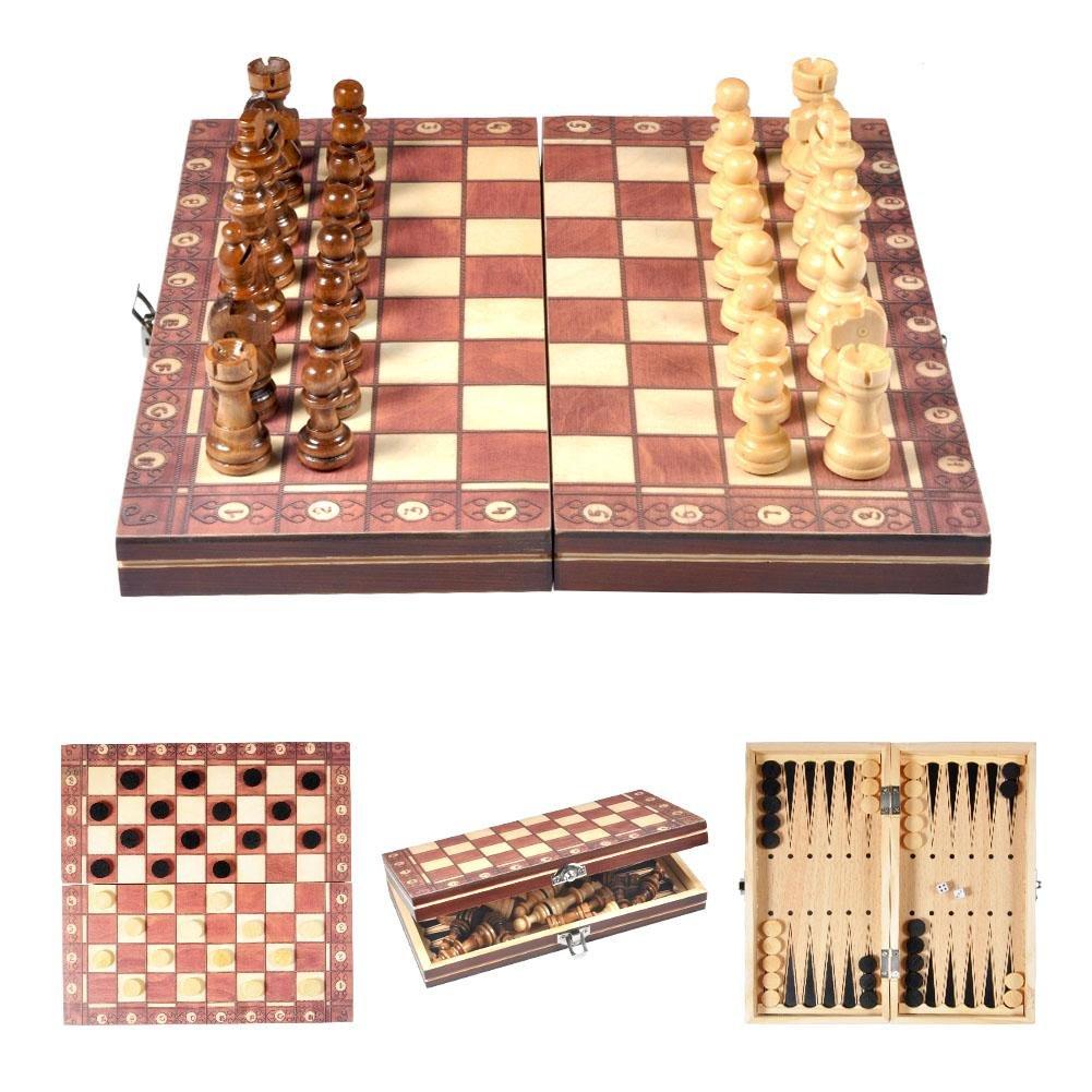 lahomie Jeu d'échecs International Pliant Magnétique, Jeu d'échecs International Portable en Bois pour Enfants et Adultes