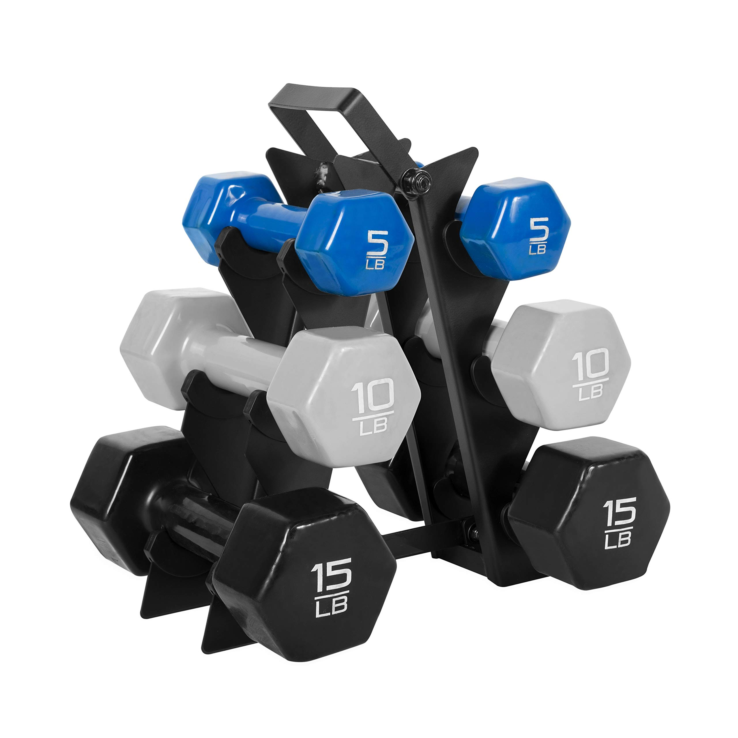 WF Athletic Supply Dumbbell Set with Storage Rack (60 LB Vinyl Dipped Dumbbell Set) by WF Athletic Supply