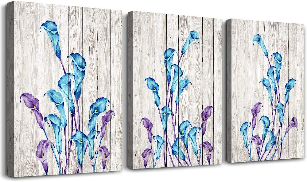Wood grain background light blue flowers wall art for kitchen Wall Decorations for Living Room Bathroom Decorations room Wall decor 3 Pieces Framed Canvas print Artwork modern Home Decor painting