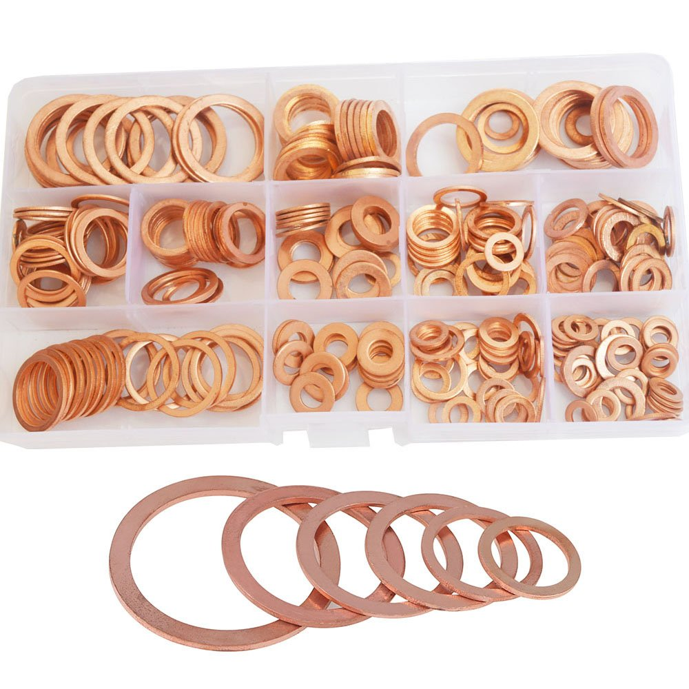 Flat Copper Washer Metric Sealing Gasket Ring M5 M6 M8 M10 M12 M14 M16 M20 Assortment Kit Set 280pcs