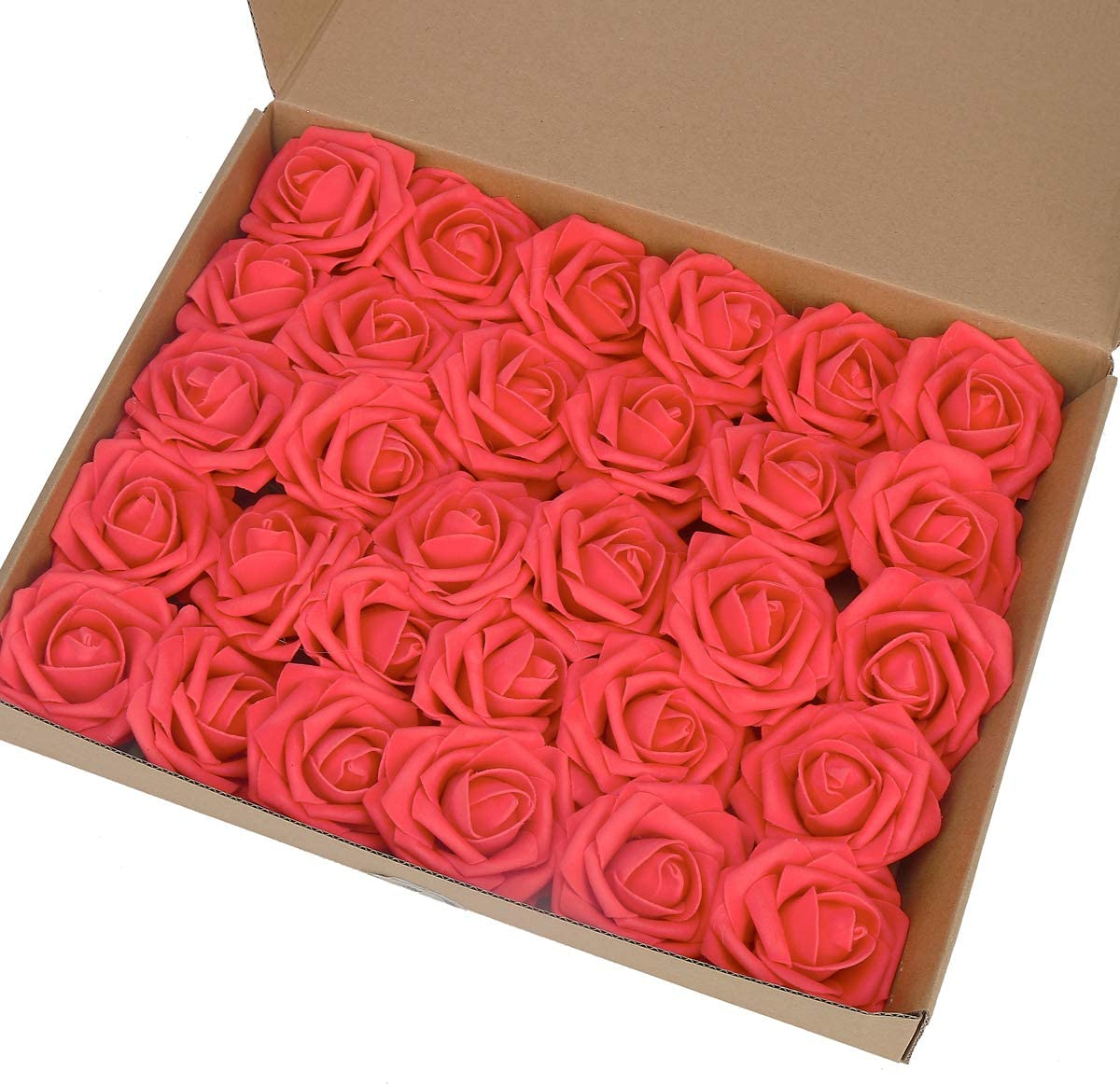 MACTING Artificial Flower Rose, 30pcs Real Touch Artificial Roses for DIY Bouquets Wedding Party Baby Shower Home Decor (Light Pink Red)