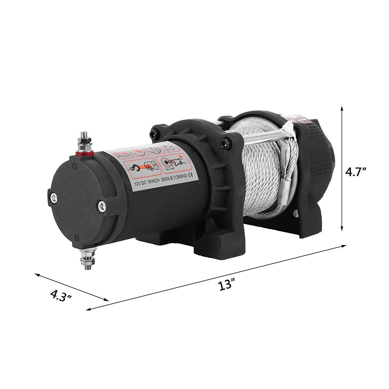 Cueffer Cabrestante Eléctrico Cable de Polipasto 12V Cabrestante de Cable de 1360kg/13500lbs Cabrestante Eléctrico con Control Remoto (1360 kg): Amazon.es: ...