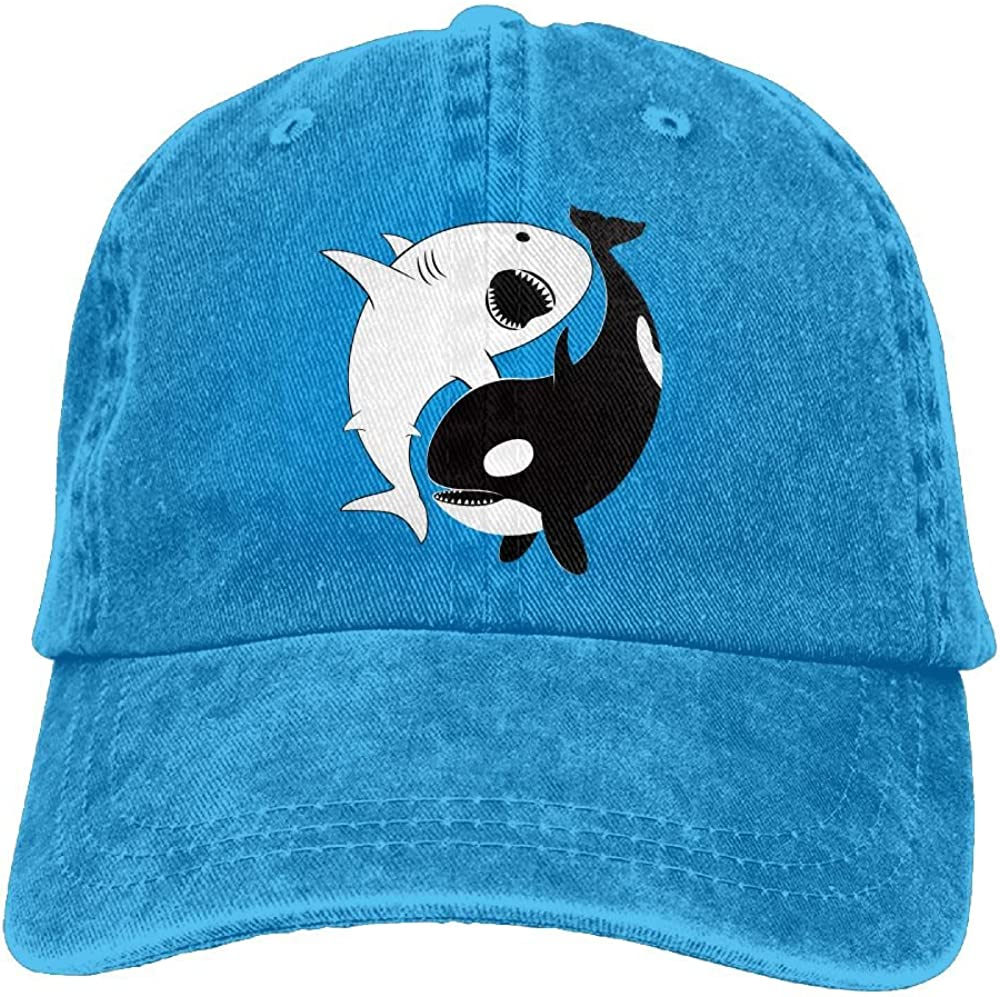 Edongquwe Kawaii Yin Yang Shark Plain Washed Dad Solid Cotton Polo Style Baseball Cap Hat Black