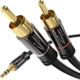 KabelDirekt – 3.5mm to RCA Splitter Cable, Cord (6 feet Short, 3.5mm Aux to 2 RCA Male Audio & Auxiliary Cable, Double-Shield