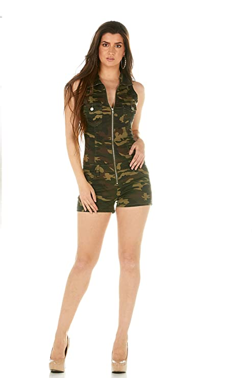 d41870647 Amazon.com: Cover Girl Denim Romper Jeans Shorts Zip Up Sleeveless Cute and  Sexy 3 Colors Juniors and Plus: Clothing