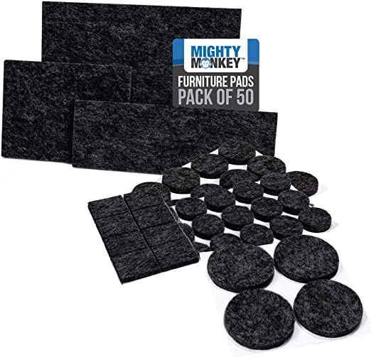 MIGHTY MONKEY Felt Furniture Gripper Pads, Easy Glide Floor Protectors, Pad Prevents Scratches on Wood Floors, Adhesive Strips Secure to Chair Leg, Heavy Duty, Protects Hardwood, 50 Pack, Black