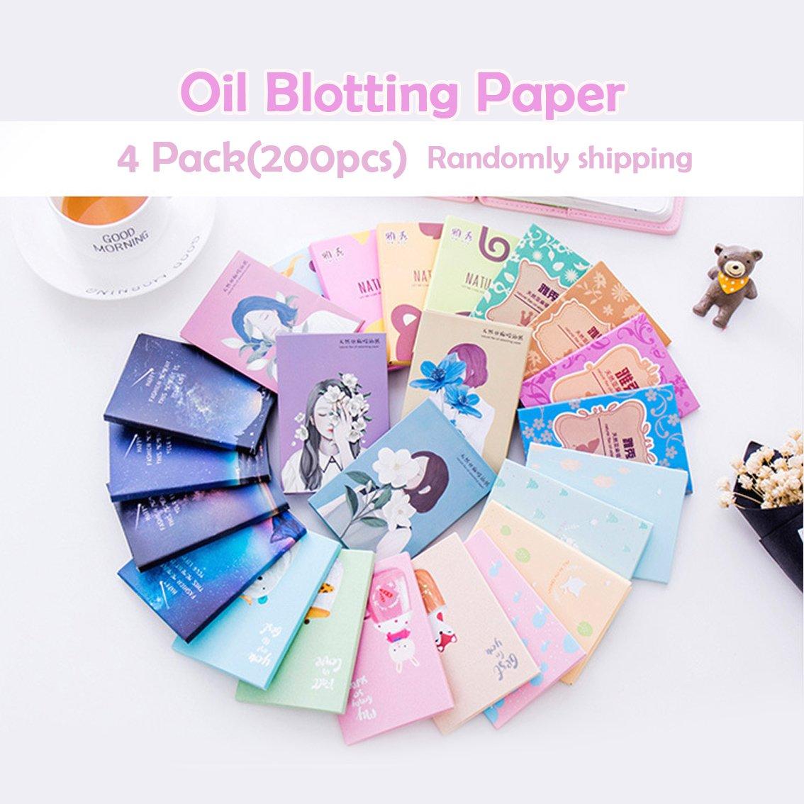 Carta assorbente per l'olio Tessuti assorbenti per il viso Premium Fogli per il controllo del petrolio Lino naturale Easy Take Out Design 200Pcs (4 pezzi) (200 pezzi)