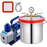Bestauto 2 Gallon Vacuum Degassing Chamber Stainless Steel Degassing Chamber 7.5L Vacuum Chamber with 5 CFM 1/3HP Single…