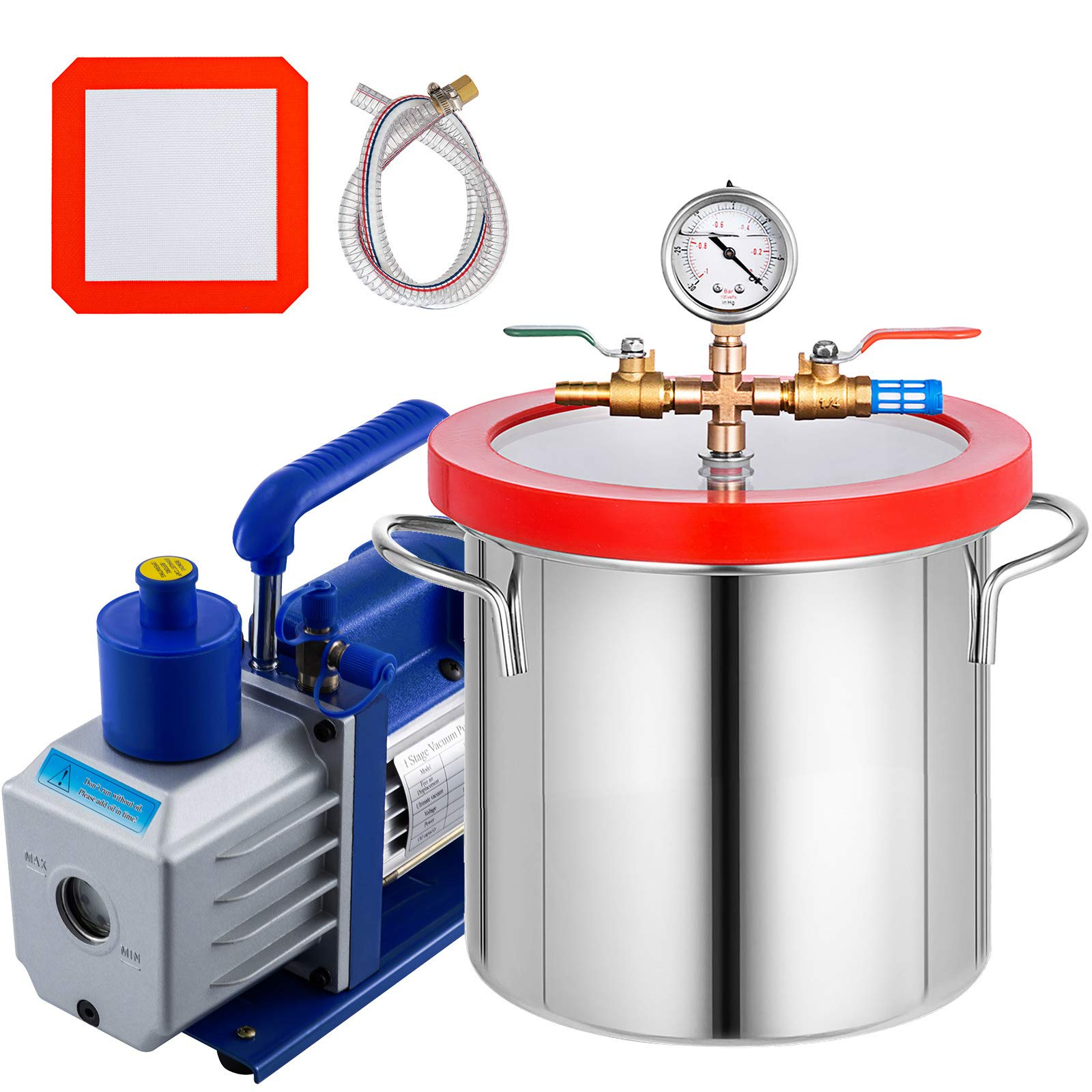 Bestauto 2 Gallon Vacuum Degassing Chamber Stainless Steel Degassing Chamber 7.5L Vacuum Chamber with 5 CFM 1/3HP Single Stage Pump Kit(2 Gallon Vacuum Chamber+ 5CFM Pump) by Bestauto