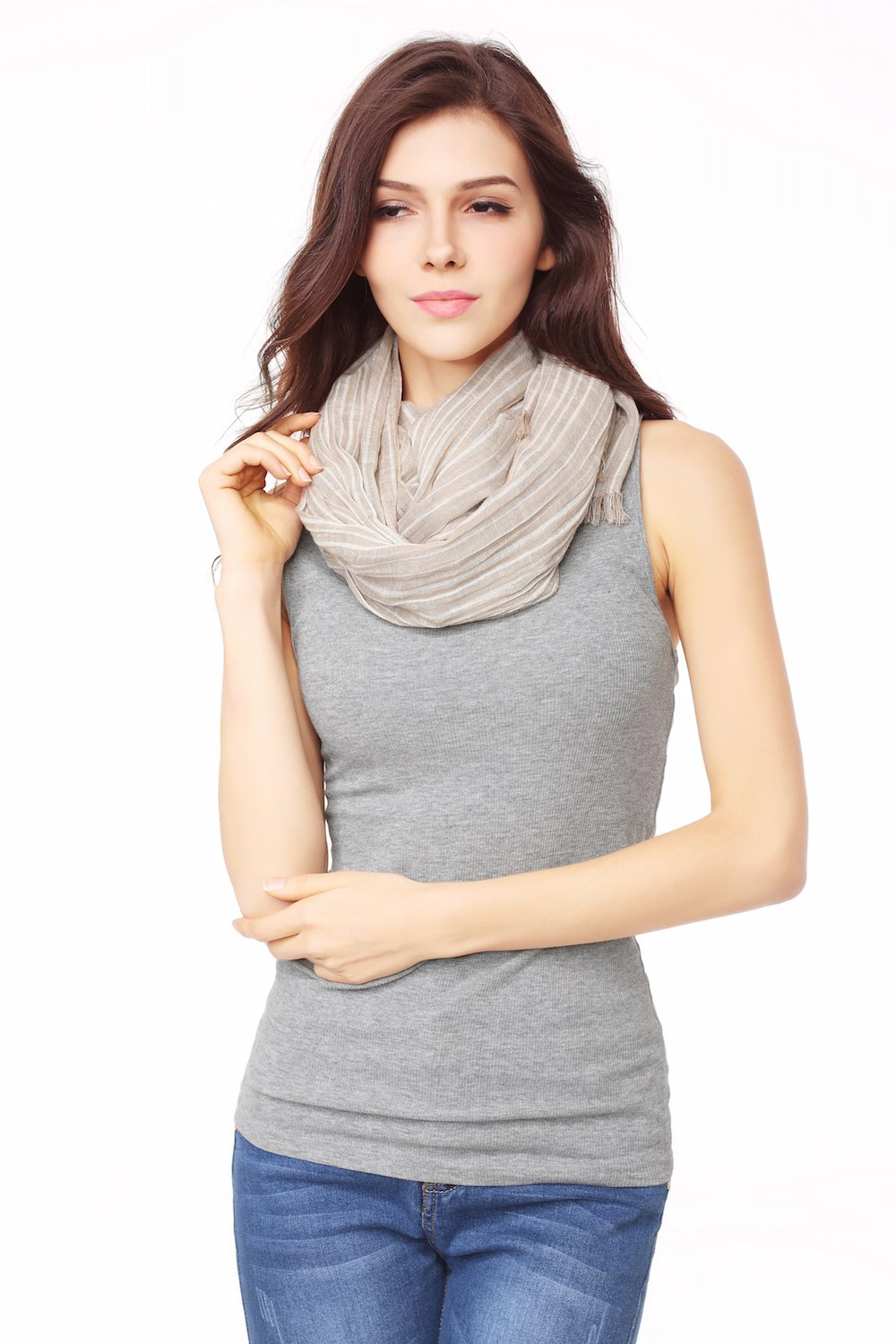 Cotton Scarf Shawl Wrap Soft Lightweight Scarves And Wraps For Men And Women. (Beige cream) by Jeelow (Image #4)