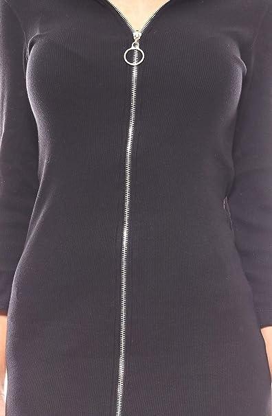 NA-KD sportlich verführerisches Rippstrick-Kleid Reißverschluss Kleid Schwarz