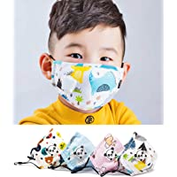 4 PCS Unisex Kids Face Cover Epidemic Prevention Maxk Mouth Washable&Reuse Protection Children Facial Covering Cloth Maxk(random white with cartoon)