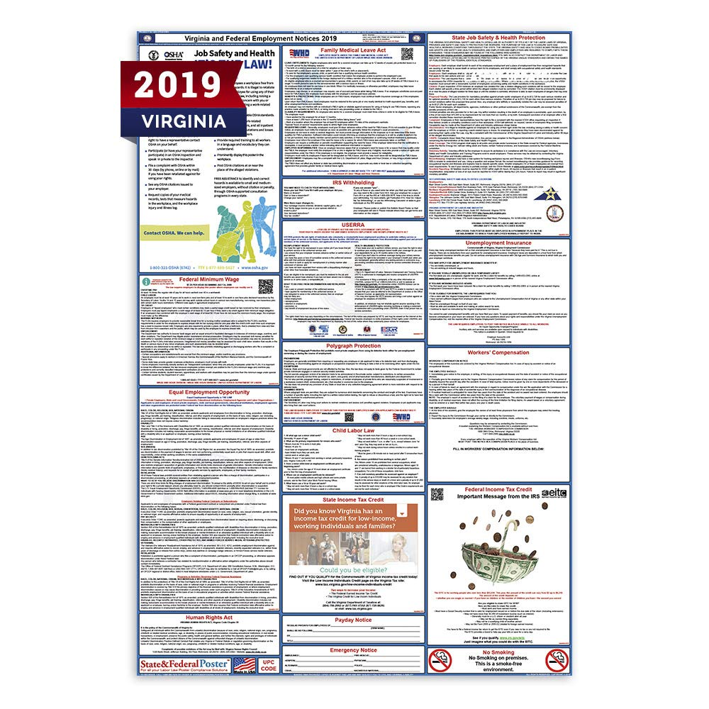 Amazon com: 2019 Virginia Labor Law Posters (Laminated) All