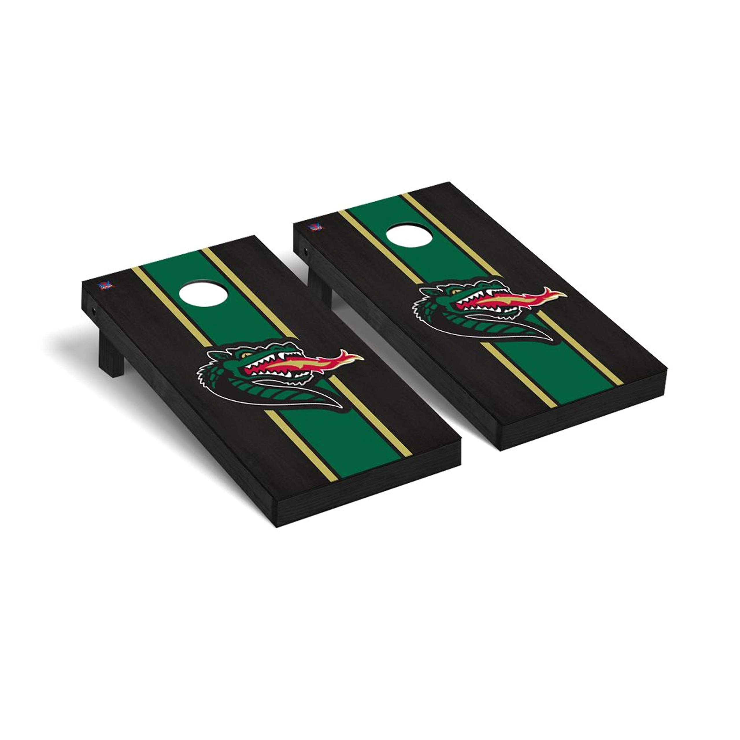 Victory Tailgate Regulation Collegiate NCAA Onyx Stained Stripe Series Cornhole Board Set - 2 Boards, 8 Bags - University of Alabama at Birmingham Blazers by Victory Tailgate