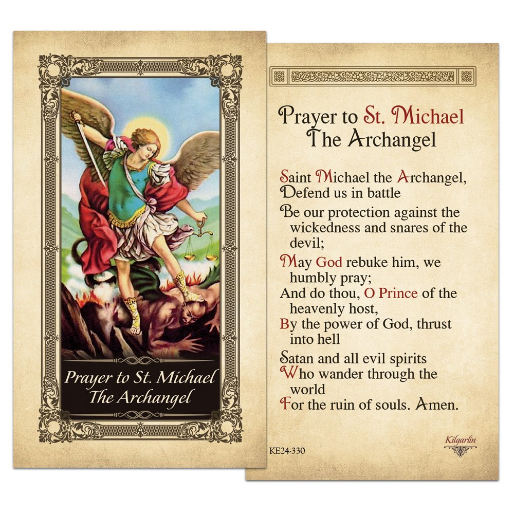 picture about St. Michael the Archangel Prayer Printable named St.Michael the Archangel Laminated Prayer Card - Pack of 10