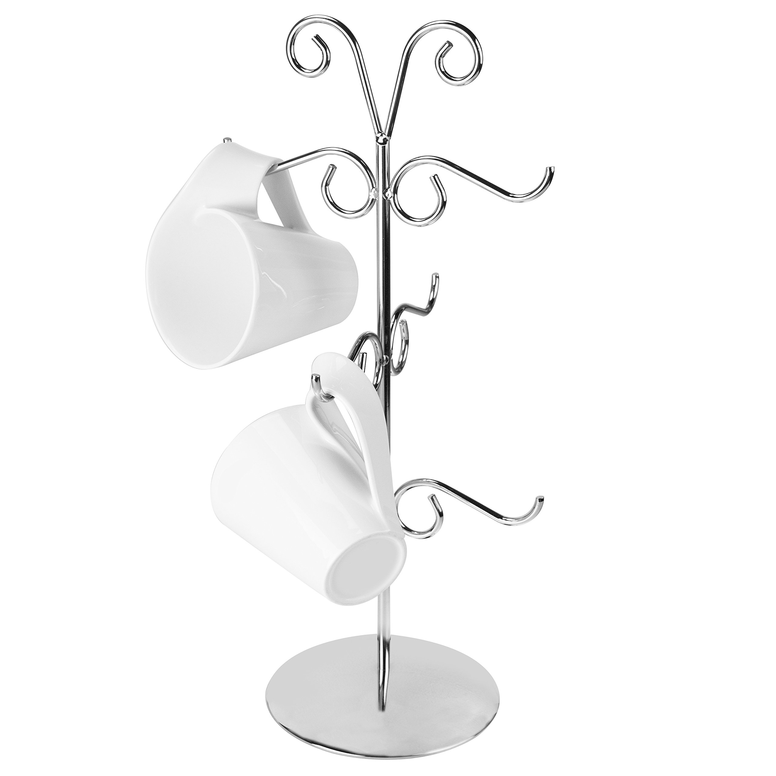 Deluxe 6 Hook Chrome-Plated Metal Swirl Design Mug Tree, Countertop Cup Hanging Holder