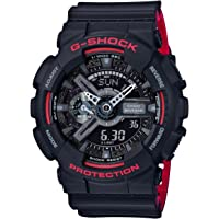 Casio卡西欧 GA110HR-1A 男士G-Shock系列 黑色双显表盘黑色&红色树脂表带世界时间潜水腕表手表
