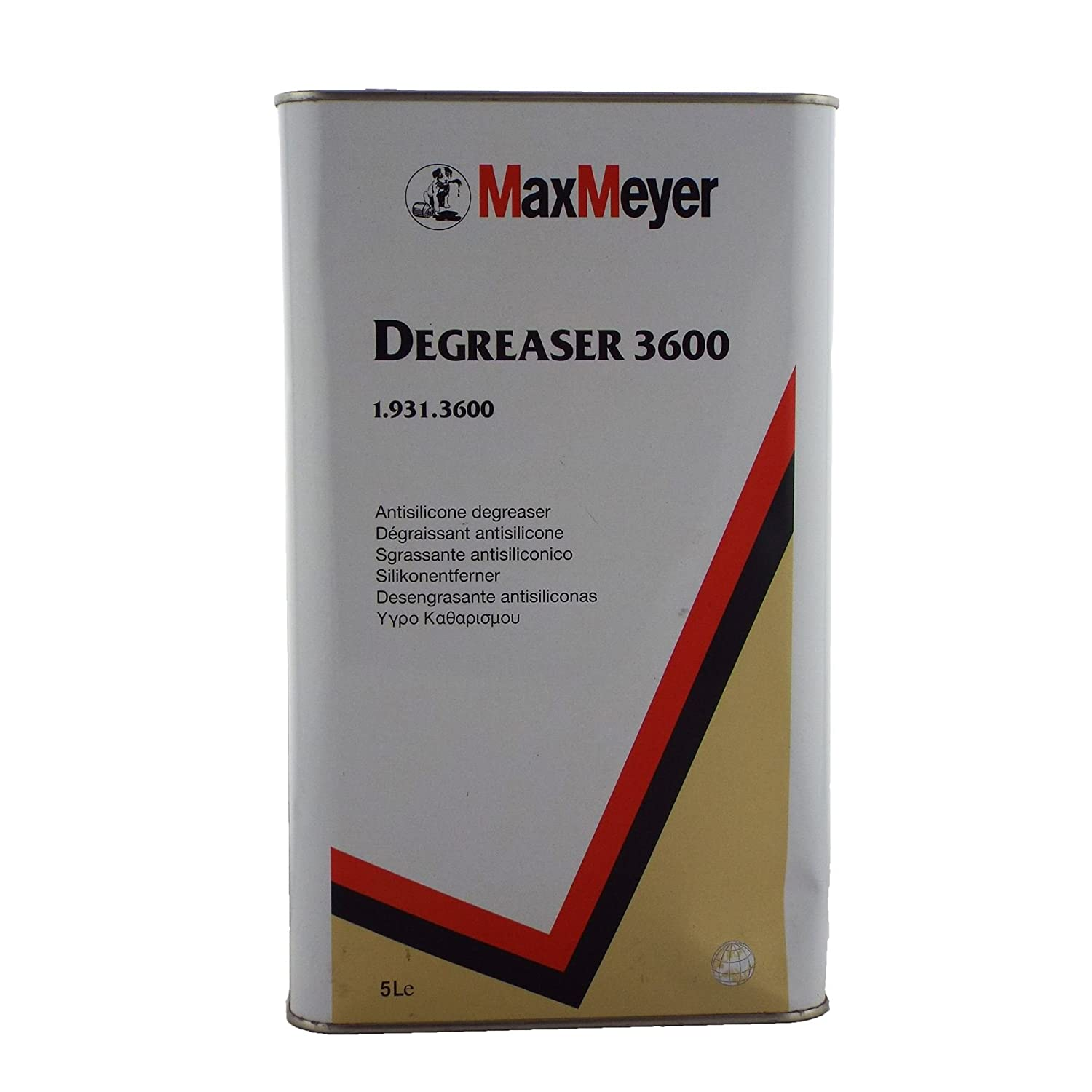 Max Meyer Anti Silicone Degreaser 1.931.3600 5ltr Paint Grease/Dirt Remover Designed to Remove Dirt/Oils/Waxes/Silicone/Other Contaminant Agents From Bare Metal Areas MaxMeyer