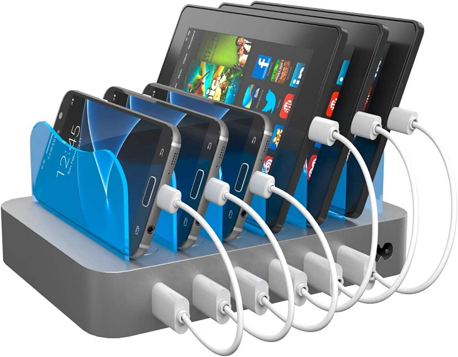 Hercules Tuff Phone Charging Station - Multi Device Organizer - Works for Galaxy S6/S7/S8/S9, Note 6/7/8/9 and More - Micro USB and Type C Cables Included