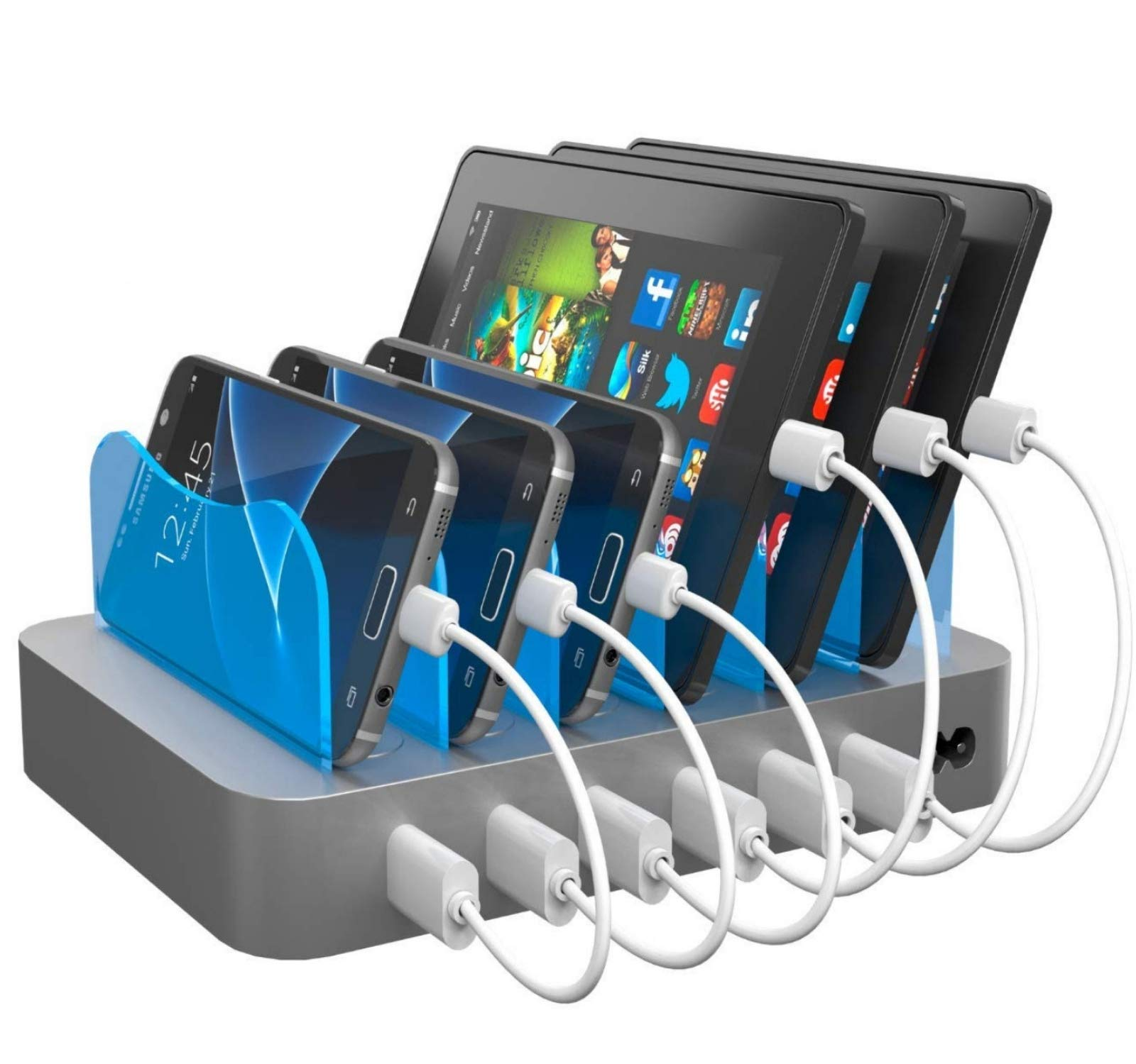 Hercules Tuff Phone Charging Station - Multi Device Organizer - Works for Galaxy S6/S7/S8/S9, Note 6/7/8/9 and More - Micro USB and Type C Cables Included by Hercules Tuff