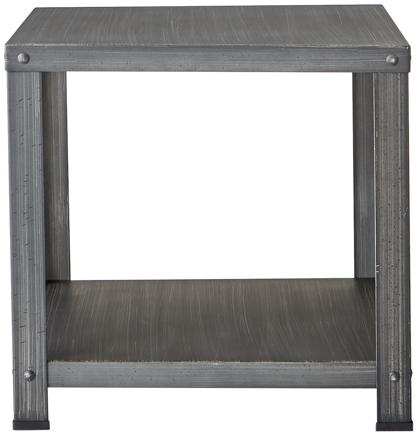 Ashley Furniture Signature Design – Hattney – Vintage Casual Square End Table – Industrial Style – Gray