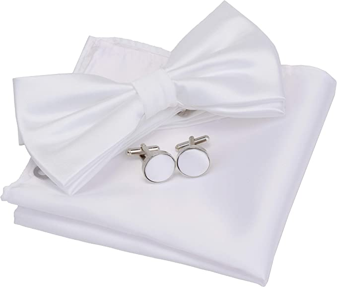 Edwardian Men's Formal Wear GUSLESON Mens Solid Color Double Fold Pre-tied Bow Tie and Pocket Square Cufflink Set with Gift Box £8.95 AT vintagedancer.com