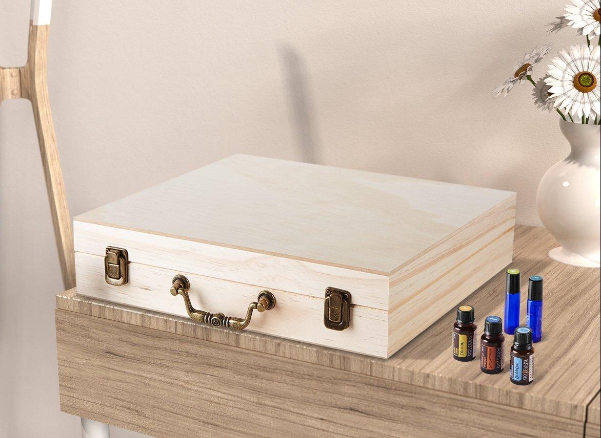 SOLIGT 72 Bottle Wooden Essential Oil Storage Box with Handle, 64 Slot for 5-15ml Essential Oils & 8 Slot for 10ml roller bottles