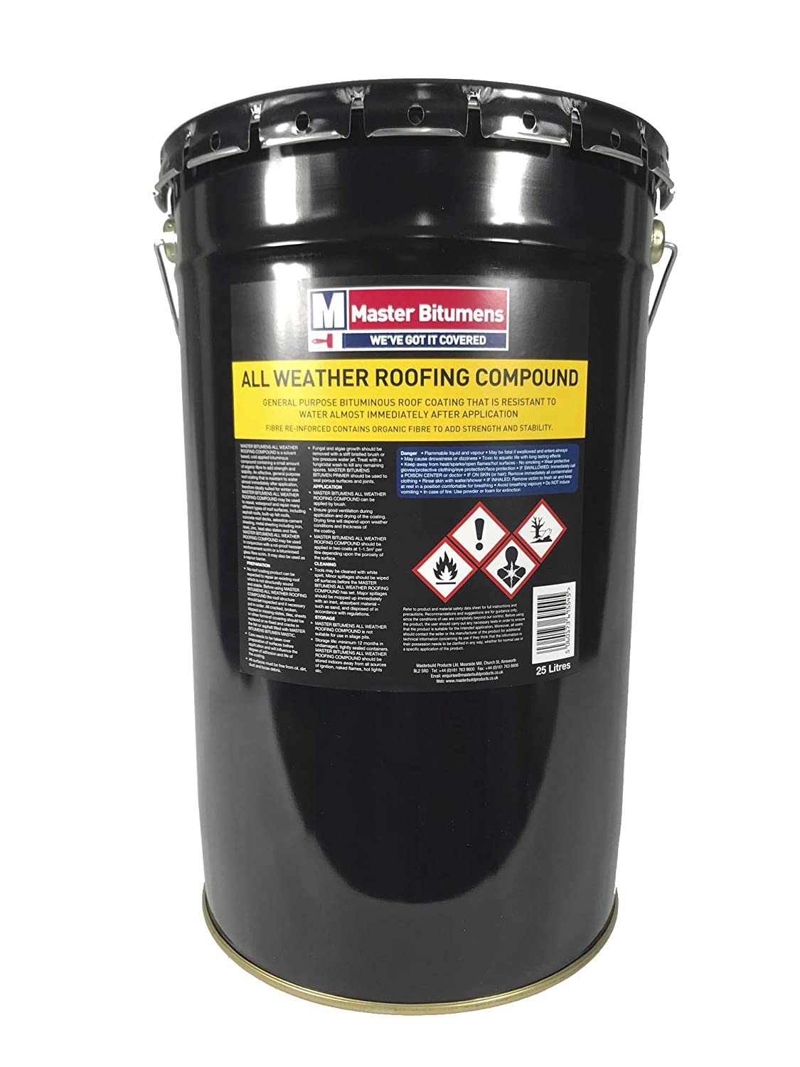 ALL WEATHER ROOFING COMPOUND BITUMEN WATERPROOF ROOF COATING 25 LITRE MB