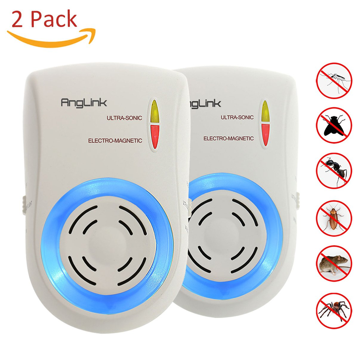 AngLink 2 x Ultrasonic Pest Repeller Electromagnetic Waves Pest Control Ultrasonic Plug in Pest Repellent Device for Indoor Rodents Mouse Mice Cockroach Flies Roaches Ants Spiders Fleas
