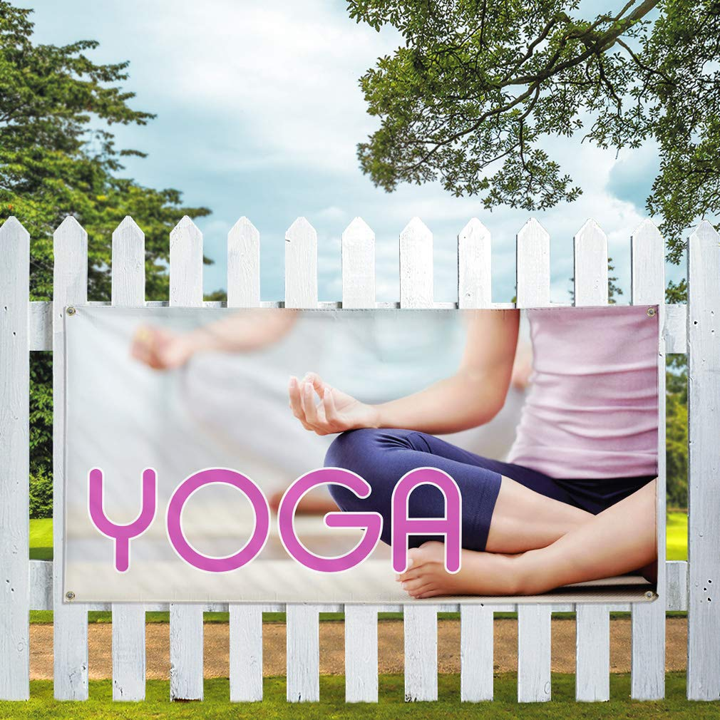 Vinyl Banner Sign Yoga #1 Style A Business Yoga Outdoor Marketing Advertising White 4 Grommets Set of 2 Multiple Sizes Available 28inx70in