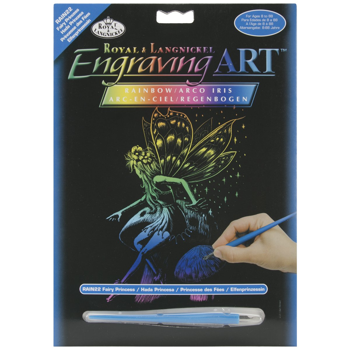 ROYAL BRUSH Rainbow Foil Engraving Art Kit, 8 by 10-Inch, Fairy Princess RAINFL-22