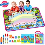 """Moson Water Drawing Mat, Drawing Painting Doodle Mat Aqua Magic Mat, Ideal Kids Toys Toddlers Painting Board Writing Mats with 2 Magic Pens and Letter Templates for Boys Girls Gift (39.5"""" X 27.5"""")"""