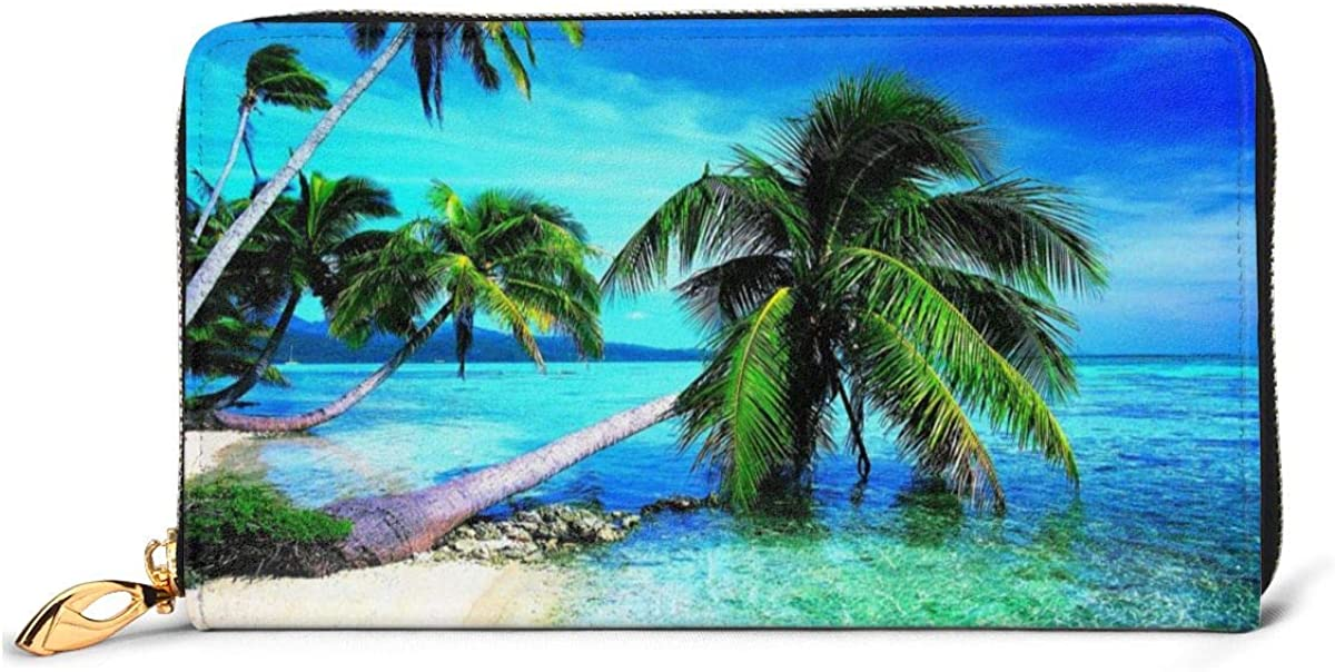 Tropical Palms Trees Navy Blue Ocean Beach Womens RFID Blocking Zip Around Wallet Genuine Leather Clutch Long Card Holder Organizer Wallets Large Travel Purse