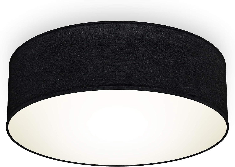 /éclairage bureau /éclairage plafond design moderne /& sobre douille E27 livr/é sans ampoule rond /Ø30cm B.K.Licht plafonnier textile gris