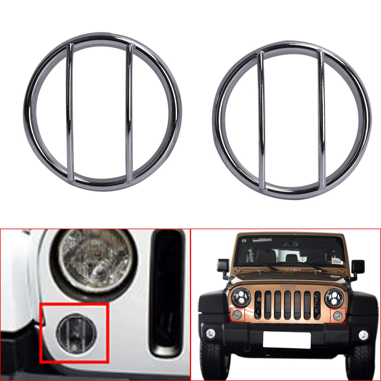 buyinhouse Chrome Light Guard Front Turn Signals Steel Cover for Jeep Wrangler JK 2007-2016