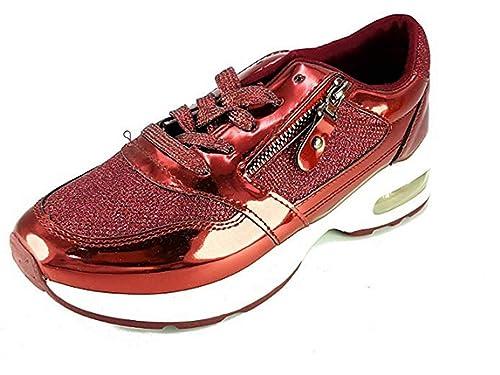 PICCOLI MONELLI Sneakers Donna Scarpe da Passeggio tg 40 Colore Rosso con  Brillantini e Lacci c720ba91e93